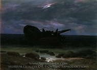 Wreck in the Moonlight painting reproduction, Caspar David Friedrich