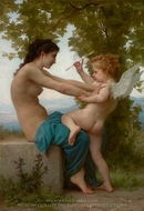 Young Girl Defending herself against Cupid (Jeune Fille se Defendant Contre L'amour) painting reproduction, William Adolphe Bouguereau