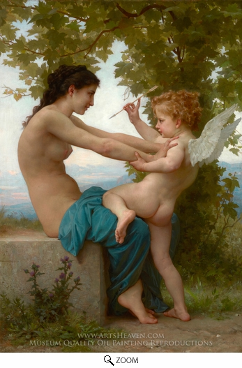 William Adolphe Bouguereau, Young Girl Defending herself against Cupid (Jeune Fille se Defendant Contre L'amour) oil painting reproduction