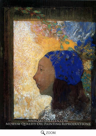 Painting Reproduction of Young Girl in a Blue Bonnet, Odilon Redon