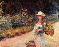 Young Girl in the Garden at Giverny painting reproduction, Claude Monet