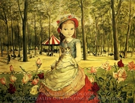 Young Girl in the Park painting reproduction, Tsugouharu Foujita