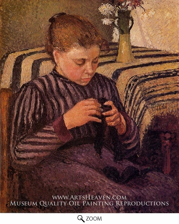 Painting Reproduction of Young Girl Mending Her Stockings, Camille Pissarro