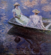 Young Girls in a Row Boat painting reproduction, Claude Monet