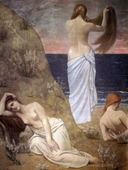 Young Girls on the Edge of the Sea painting reproduction, Pierre Puvis De Chavannes