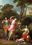 Young Greek Maidens Deck Sleeping Cupid with Flowers painting reproduction, Joseph-Marie Vien