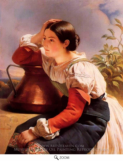 Painting Reproduction of Young Italian Girl by the Well, Franz Xavier Winterhalter