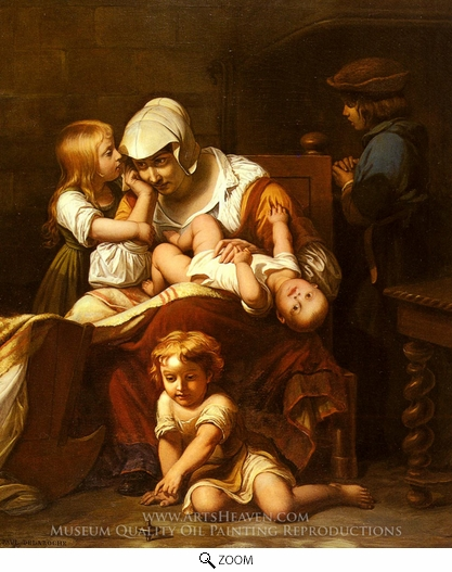 Painting Reproduction of Young Mother and Her Children, Paul Delaroche