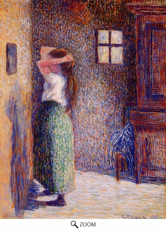 Painting Reproduction of Young Peasant at Her Toilette, Camille Pissarro