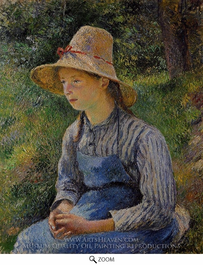 Painting Reproduction of Young Peasant Girl Wearing a Hat, Camille Pissarro
