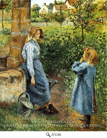 Painting Reproduction of Young Woman and Child at the Well, Camille Pissarro