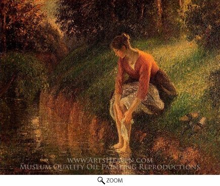 Painting Reproduction of Young Woman Bathing Her Feet, Camille Pissarro