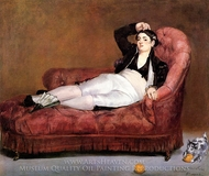 Young Woman Reclining, in Spanish Costume painting reproduction, Edouard Manet