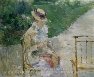 Young Woman Sewing in the Garden by Berthe Morisot