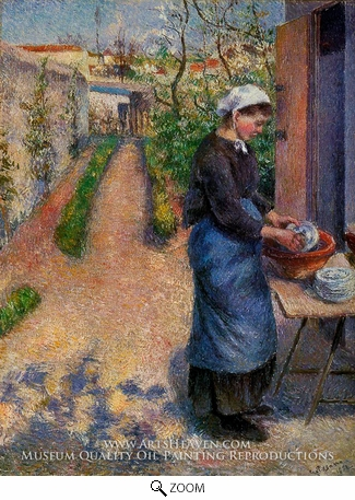 Painting Reproduction of Young Woman Washing Plates, Camille Pissarro