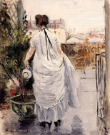 Young Woman Watering a Shrub painting reproduction, Berthe Morisot