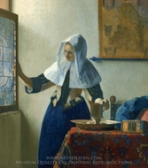 Young Woman with a Water Pitcher painting reproduction, Jan Vermeer