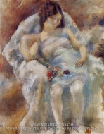 Zinah with Flowers by Jules Pascin