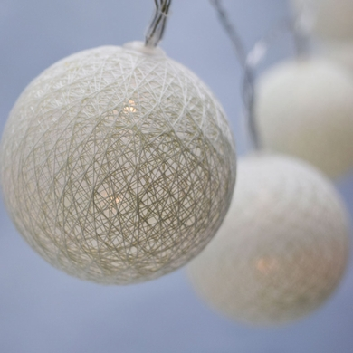 10 LED Beige / Ivory Round Texture Cotton Ball String Light, 5.5 FT, Battery Operated