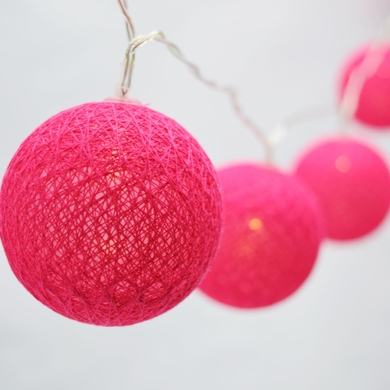 10 LED Fuchsia / Hot Pink Round Texture Cotton Ball String Light, 5.5 FT, Battery Operated