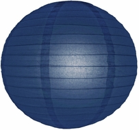 """12"""" Navy Blue Round Paper Lantern, Even Ribbing, Hanging (Light Not Included)"""