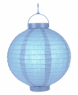 "12"" Serenity Blue 16 LED Round Battery Operated Paper Lantern w/ Built-in Light-Up Switch"