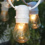 BLOWOUT 10 Socket Outdoor Commercial String Light Set, S14 Bulbs, 21 FT White Cord w/ E26 Medium Base, Weatherproof