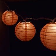 "10 Socket Roseate / Pink Coral Round Paper Lantern Party String Lights (4"" Lanterns)"