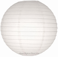 """12"""" White Round Paper Lantern, Even Ribbing, Hanging (Light Not Included)"""