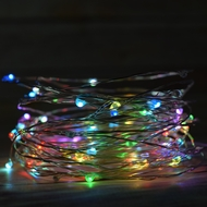 100 RGB Multi-Color Changing LED Micro Fairy String Light, Waterproof Wire (33ft, AC Plug-In)