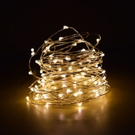 100 Warm White LED Micro Fairy Wire Waterproof String Lights (33ft, AC Plug-In)