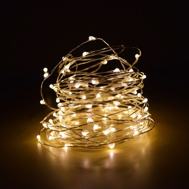 100 Warm White LED Micro Fairy String Light, Waterproof Wire (33ft, AC Plug-In)