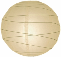 "12"" Beige / Ivory Round Paper Lantern, Crisscross Ribbing, Hanging (Light Not Included)"