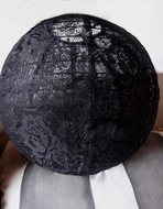 """12"""" Black Lace Fabric Lantern, Even Ribbing, Hanging (Light Not Included)"""