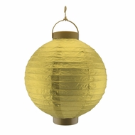 "12"" Gold 16 LED Round Battery Operated Paper Lantern w/ Built-in Light-Up Switch"