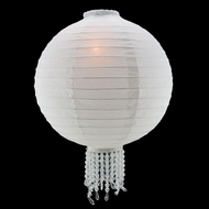 "12"" White Bejeweled Round Paper Lantern, Even Ribbing, Hanging (Light Not Included)"
