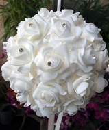 "12"" White Foam Kissing Flower Balls"