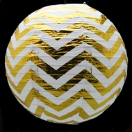 "14"" Gold Chevron Metallic Foil Paper Lantern, Even Ribbing, Hanging"