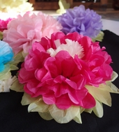 """14"""" Multi-Color Tissue Paper Flower Decorations (Fuchsia / Hot Pink Combo, 3 PACK)"""