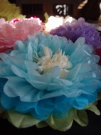 "BLOWOUT 14"" Multi-Color Tissue Paper Flower Decorations (Turquoise Combo, 3 PACK)"