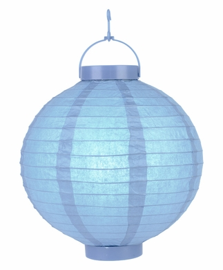 """14"""" Serenity Blue 16 LED Round Battery Operated Paper Lantern w/ Built-in Light-Up Switch"""