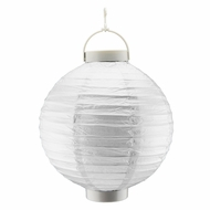 "14"" Silver 16 LED Round Battery Operated Paper Lantern w/ Built-in Light-Up Switch"