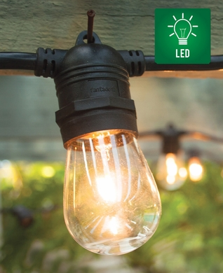 15 Socket Outdoor Commercial String Light Set, LED Filament Bulbs, 31 FT Black Cord, Total 15-Watts, Weatherproof