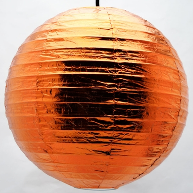 "16"" Copper Metallic Foil Paper Lantern, Even Ribbing, Hanging"