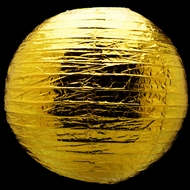 "16"" Gold Metallic Foil Paper Lantern, Even Ribbing, Hanging"