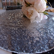 "16"" Silver Sequin Round Table Placemat"