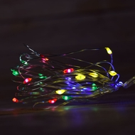 20 RGB Multi-Color LED Micro Fairy Wire Waterproof String Lights w/ Timer (6ft, Battery Operated)