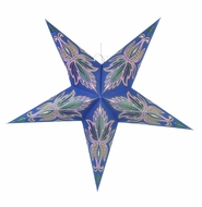 """24"""" Blue / Pink Lotus Green Glitter Paper Star Lantern, Hanging (Light Not Included)"""