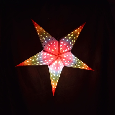 """24"""" Glossy White Star w/ Inner Rainbow Cut-Out Paper Star Lantern, Hanging (Light Not Included)"""
