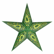 "24"" Green Tulip Cut Paper Star Lantern, Hanging (Light Not Included)"